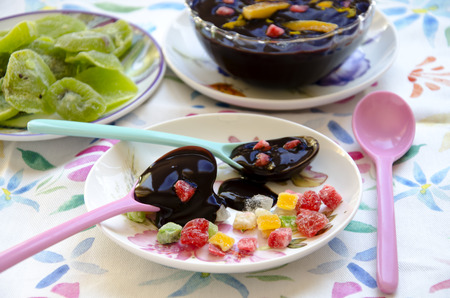 candied: Chocolate cream with candied fruit