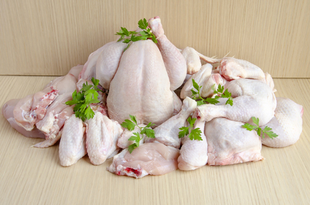 Pieces of raw chicken meat Stockfoto