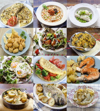 Different homemade dishes on plates. Assortment.