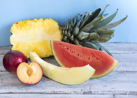 Varied fresh fruit on a table Stock Photo