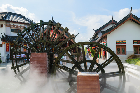 waterwheel: Chinese turbine Pillar Shrine Suphanburi Stock Photo