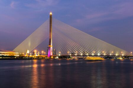 Rama VIII Bridge Evening Bangkok Thailand