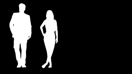 a couple of businessmen on vectors showing men and women in the black backgrounds.