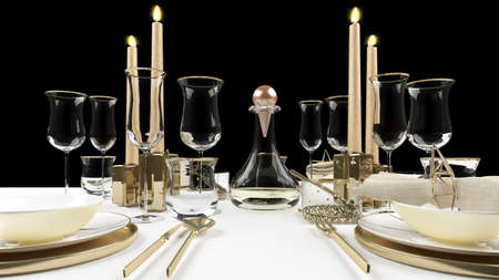 3d rendered Elegant dinning table with wine glasses, plates and candles set for christmas dinner.