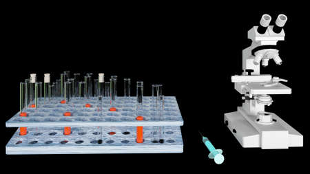 3d render biochemistry laboratory research with microscope equipment and science experiments glassware containing liquid.