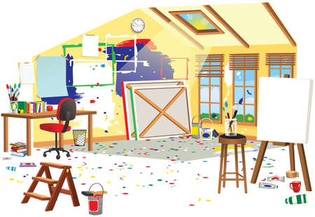 A cutaway illustration of a messy artists attic space. Ilustracja