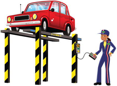 An illustration of a female mechanic and old fashioned car on an inspection ramp.