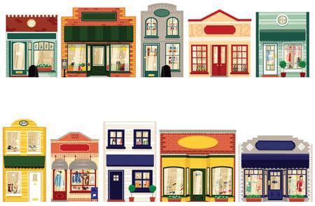 10 個性スタイル ブティックからあなた自身の通りを確認します。  イラスト・ベクター素材