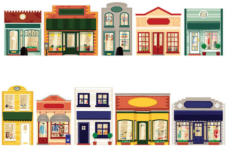 Dix boutiques individuelles et uniques pour créer votre propre rue. Banque d'images - 79072991
