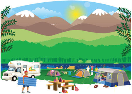 An illustration of a typical campsite scene in the countryside.