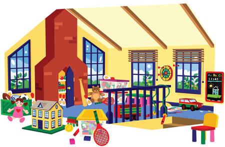 Een open illustratie van een speelkamer voor kinderen op zolder. Stock Illustratie