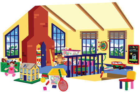 A cutaway illustration of a childrens play room in an attic space.