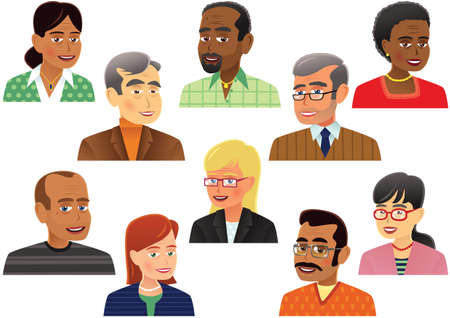 Ten individual illustrations of different peoples heads and shoulders.