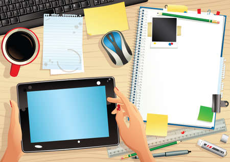 computerized: An overhead illustration of a typical office desk. Plenty of blank space for your own message.