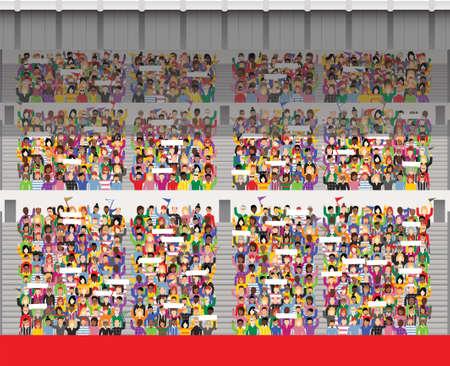 一般的なスポーツ スタジアムの観客声援と旗を振ってのイラスト。 写真素材 - 79169931