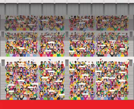 Eine Illustration eines generischen Sportstadium Publikum Jubel und winken Banner. Standard-Bild - 79169931