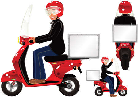 Three illustrations of a small delivery motorscooter with topbox. Box is blank for your own message.