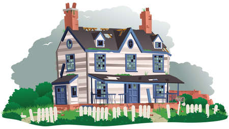 An illustration of an old abandoned and derelict house. Illustration