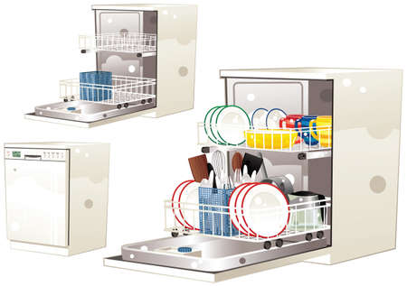 Three illustrations of a generic dishwasher you might find in any kitchen.