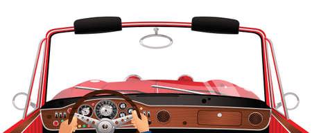 Perspektywa osoby, która prowadziła samochód sportowy w starym stylu.