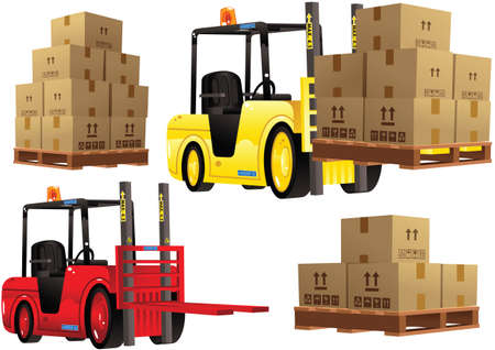 lowering: Illustrations of two typical forklift trucks and cardboard boxes you might find in any warehouse. Illustration