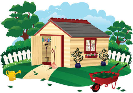 Een illustratie van een kleine tuinloods op een zonnige dag.