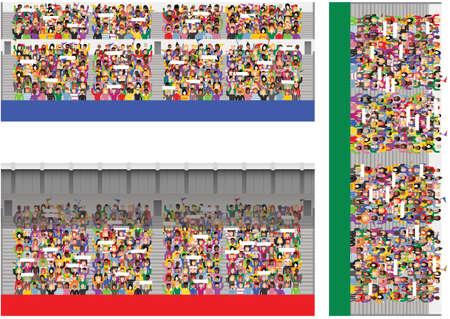 Drie verschillende illustraties van generieke sportenstadionmenigten toejuichend en golvende banners.