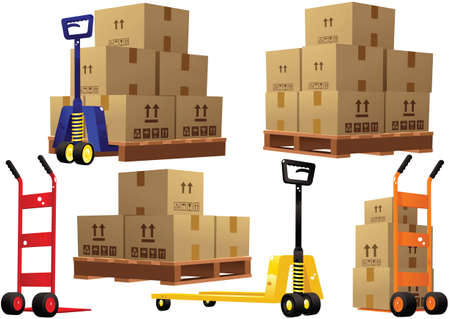 Illustrations of some typical warehouse pallet trucks and cardboard boxes. Vettoriali