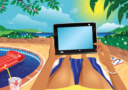 A first person illustration of a woman using a computer tablet on holiday. Plenty of blank space for your own message.