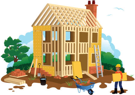An image of a timber framed house under construction. Illustration