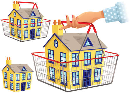 Three illustrations of someone shopping for a house. Illustration