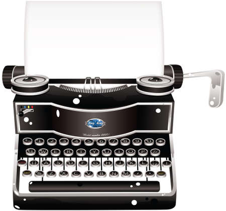 An illustration of an antique typewriter, plus blank sheet of paper ready for your own message. Illustration