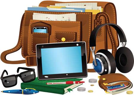 Een illustratie van een leren tas en verschillende items die je erin zou kunnen vinden. Alle items buiten de zak zijn geïsoleerd en opnieuw  verplaatsbaar. Stock Illustratie