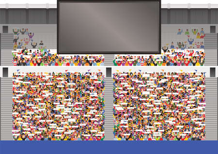 An illustration of a typical stadium grandstand and big TV screen. Screen is blank for your own message. Stock Illustratie
