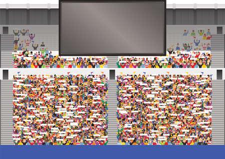 Een illustratie van een typische stadiontribune en het grote tv-scherm. Scherm is leeg voor uw eigen bericht.