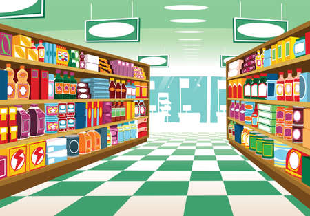An illustration of a typical modern supermarket aisle. Vetores