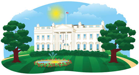colonial house: An illustration of the White House, home of the President of the United States.