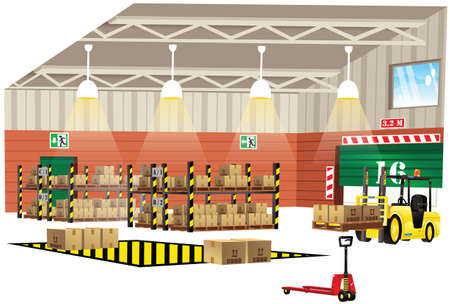 A cutaway illustration of the interior of a modern warehouse building. Vettoriali