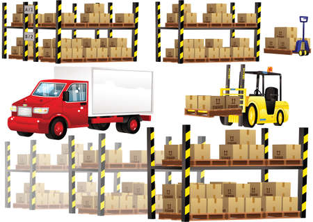 Illustrations of a forklift truck, van and warehouse racking plus cardboard boxes.