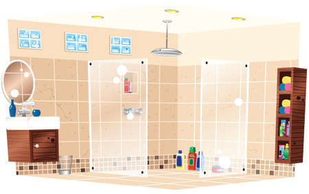 A cutaway image of a modern tiled shower room.
