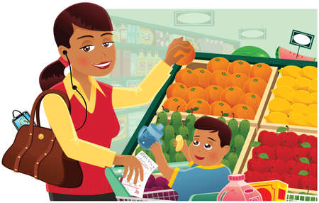 An image of a busy young mother shopping with her child.