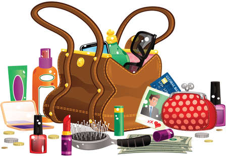 An illustration of a large leather handbag and items you might find in it. All items outside the bag are removable.