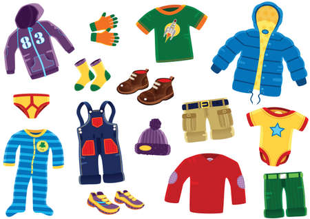 Various illustrations of clothing for a young baby boy.