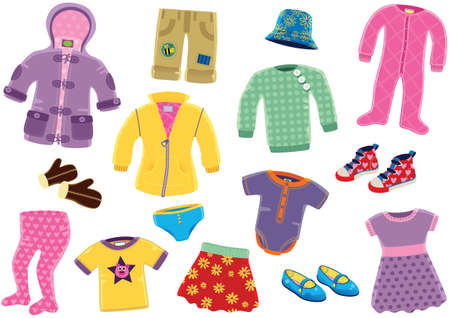 Various illustrations of clothing for a young baby girl. Stock Illustratie