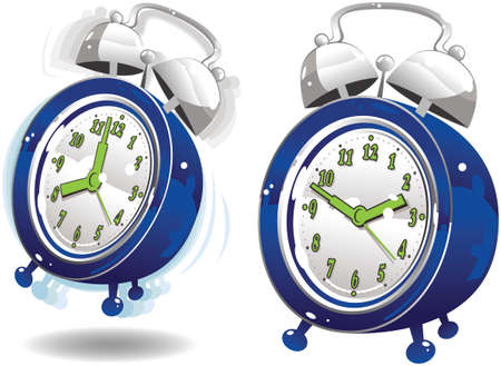 Two illustrations of a wind up alarm clock, one silent and one ringing.