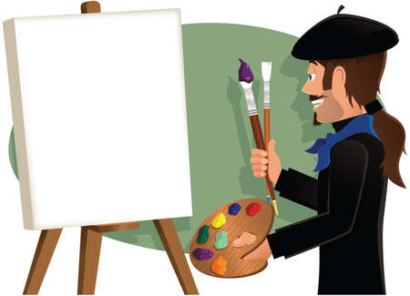 An image of an artist about to start a new canvas. Canvas is blank for your own message. Vectores