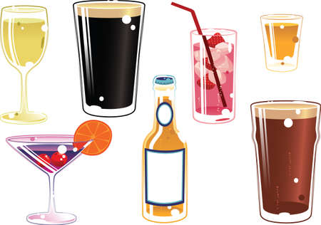Various illustrations of common alcoholic drinks.