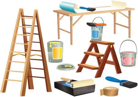 Illustraties van decoratie gereedschap waaronder ladders, verf en borstels.