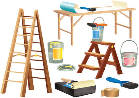 Illustrations of decoration tools including ladders, paint and brushes. 向量圖像