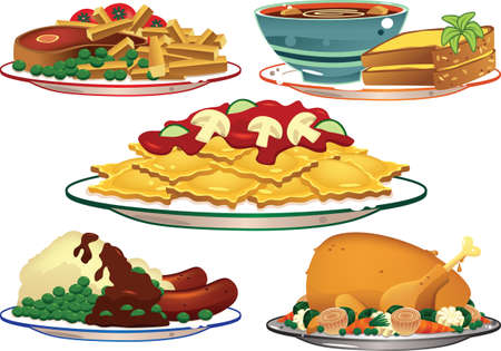 Five illustrations of common food dishes including steak, soup and pasta. Illustration